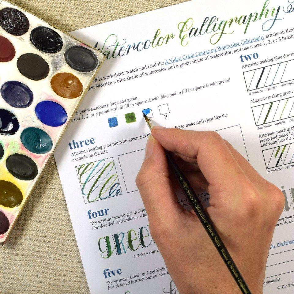 Free printable watercolor calligraphy worksheet the