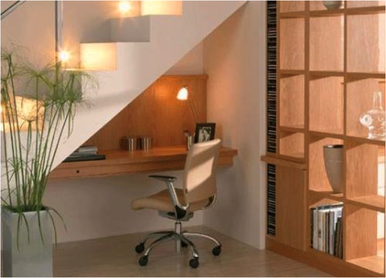 Stairs Shelves desk under stairs, shelves next to it | great stairs