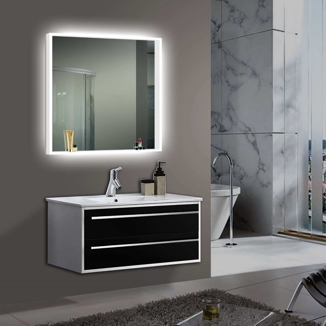 Exceptionnel Bathrom Mirror  Lighted Bathroom Mirror Acrylic Size: H:42 X W:42 X D:2  Inches   Dimmable With Dimmer Switch   110 V Wiring   Led Commercial Grade  CRI 90+ ...