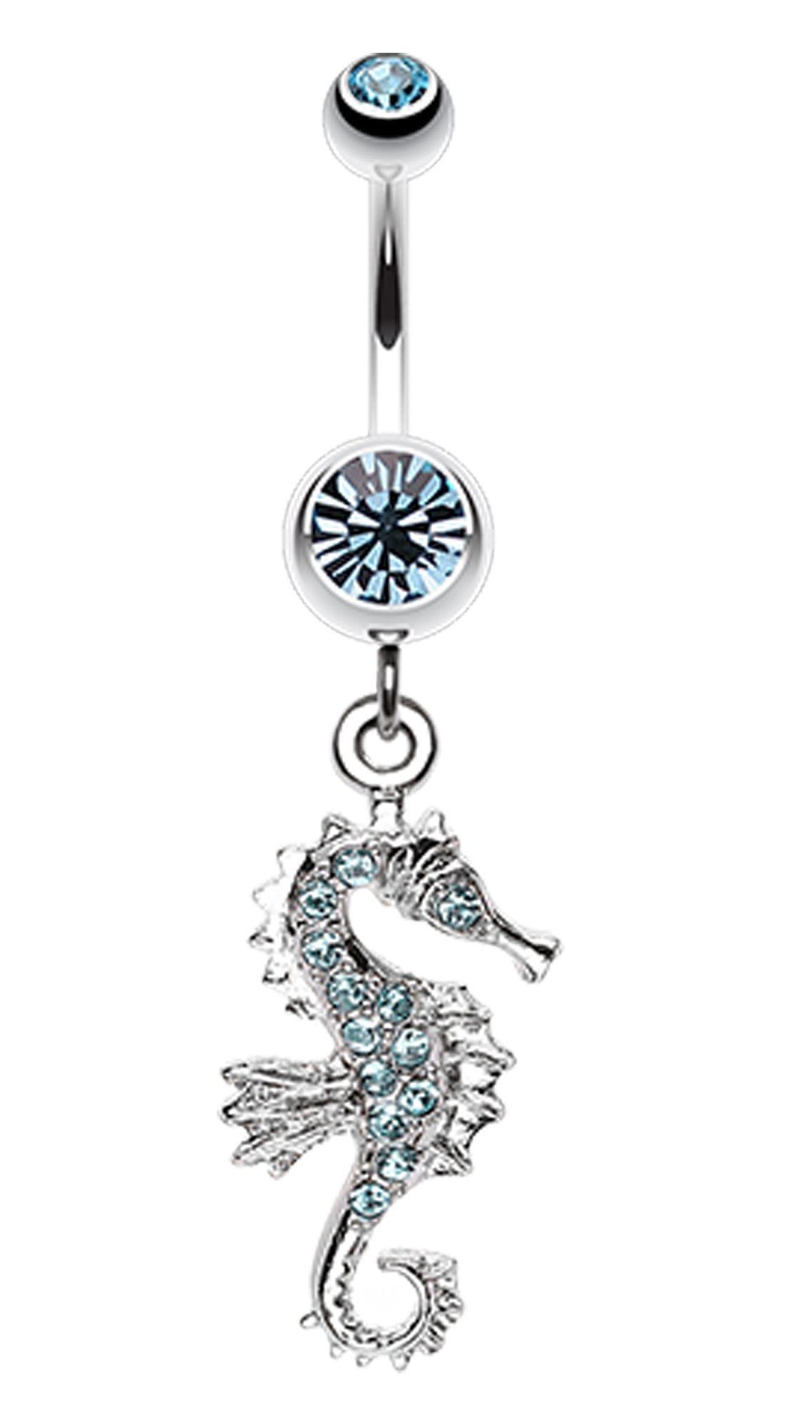 Belly button piercing without jewelry  Sparkling Seahorse Dangle Belly Button Ring  Belly button rings