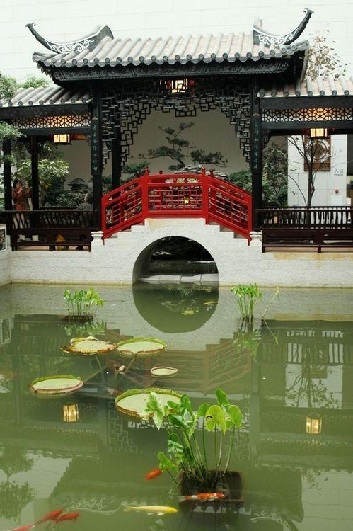 A Chinese Style garden with viewing pavilion , red bridge over fish - chinesischer garten brucke