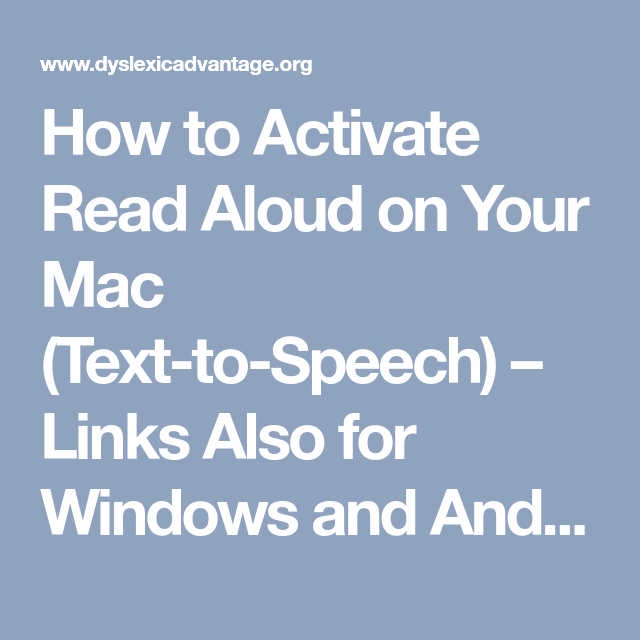 How to Activate Read Aloud on Your Mac (TexttoSpeech