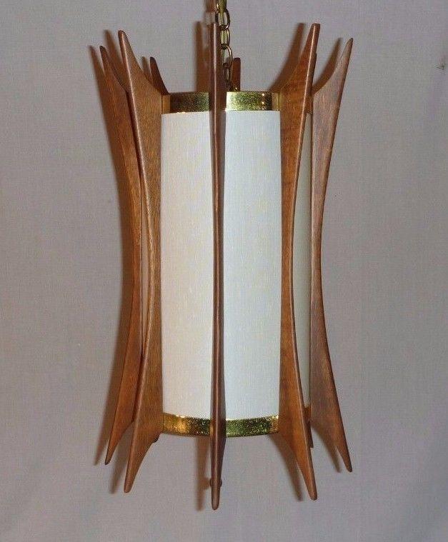 Vintage Mid Century Hanging Light Fixture Swag Lamp Teak