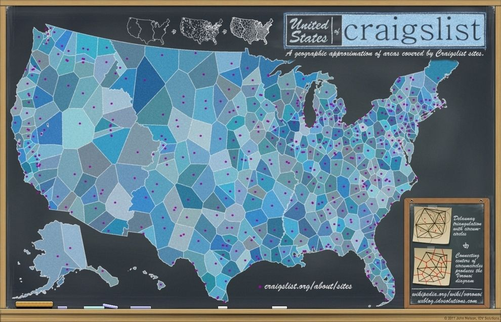 The U S According To Which Cities Have Their Own Craigslist Section Chalkboard Map The Unit Big Data Visualization