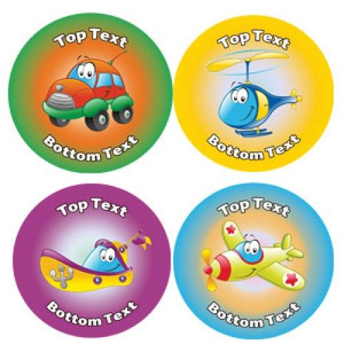 Personalised stickers for kids transport variety of designs to customise for teachers