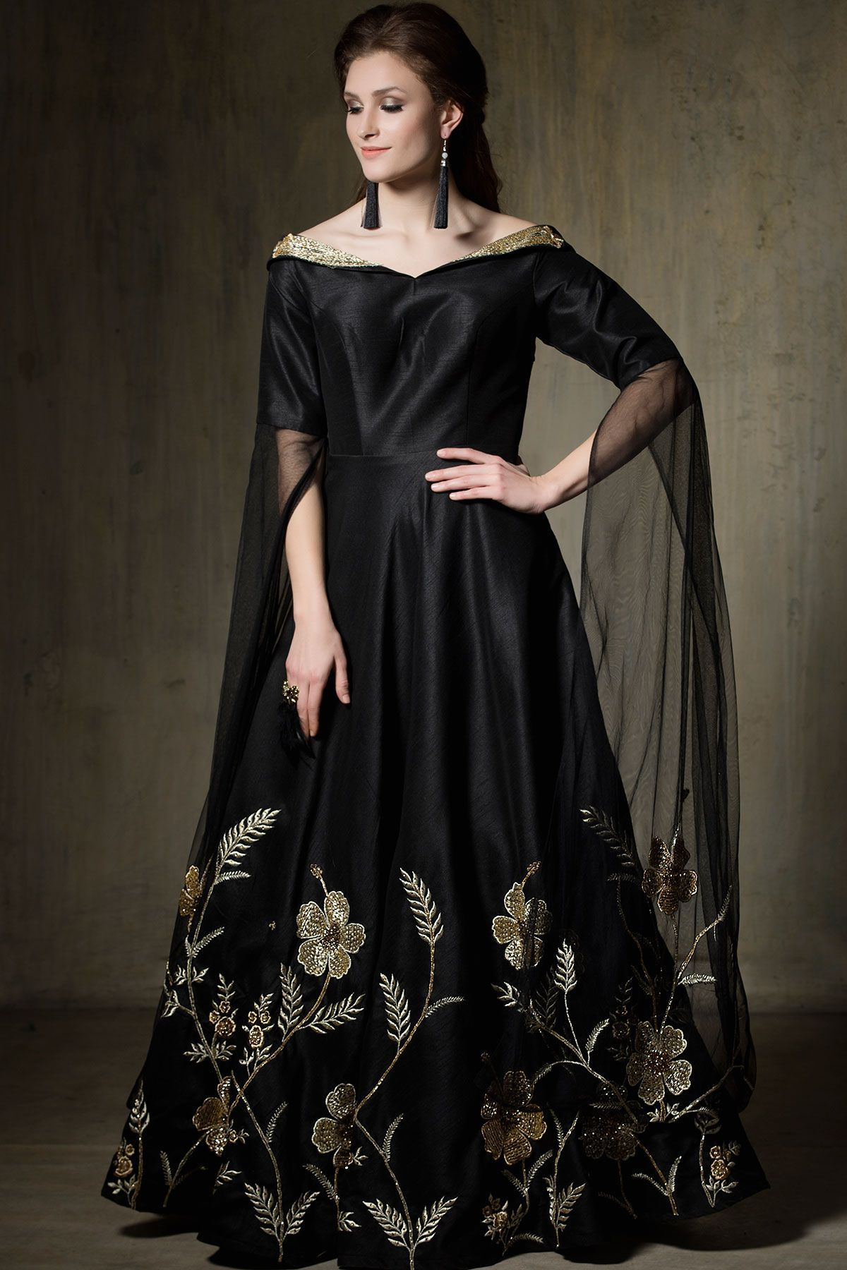 Buy Black Zari Embroidered Raw Silk Evening Gown Online
