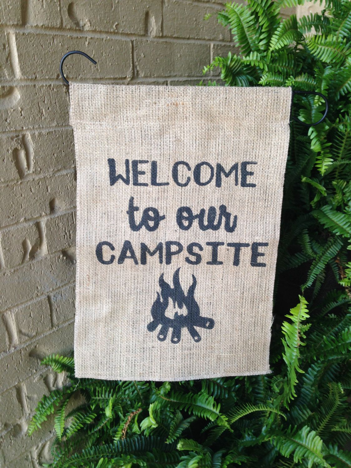 Welcome to our Campsite Burlap Garden Flag Camping Camping Flag