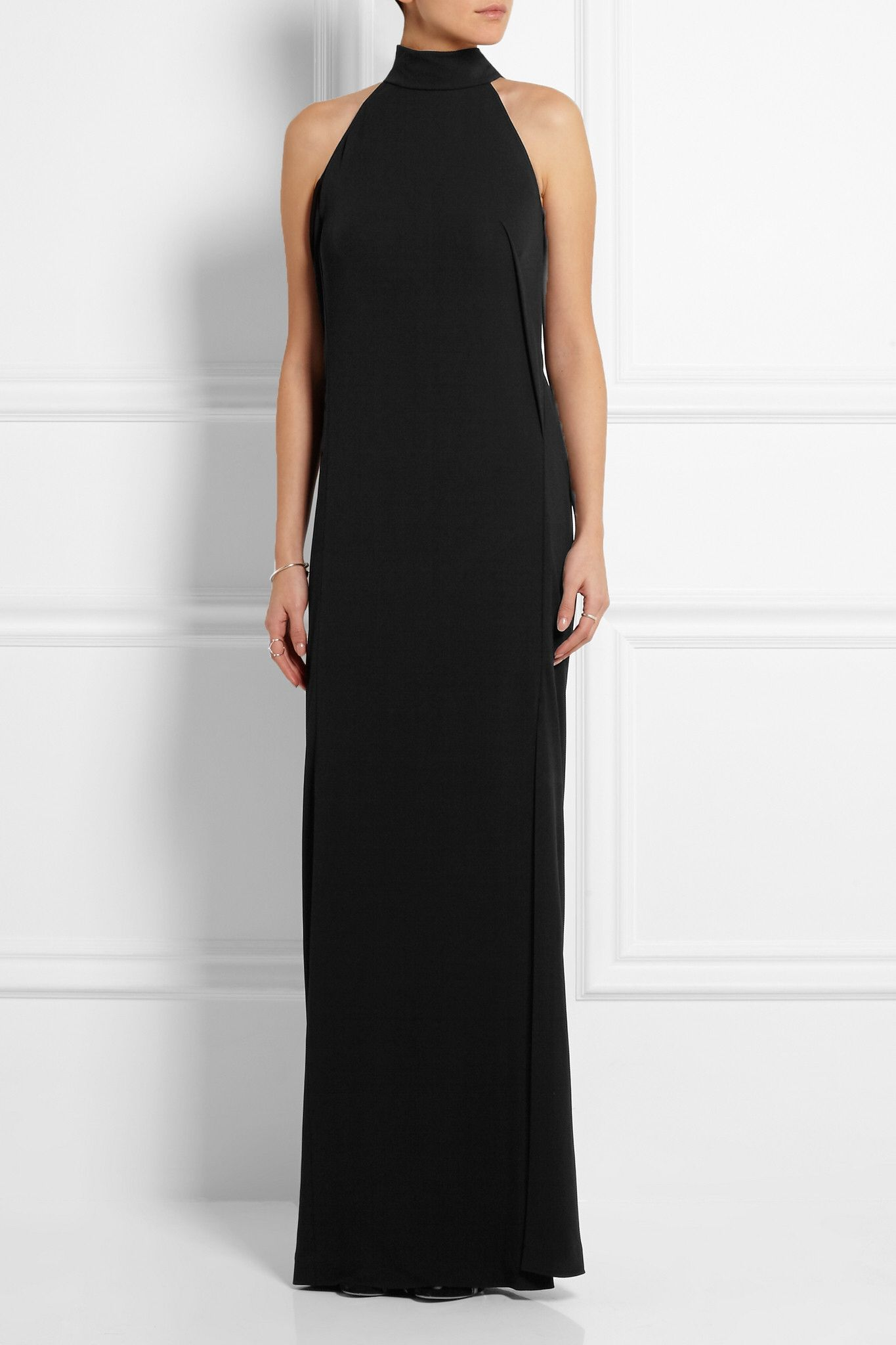 Black jersey-crepe Concealed snap fastenings along neck viscose Dry clean  Made in Italy
