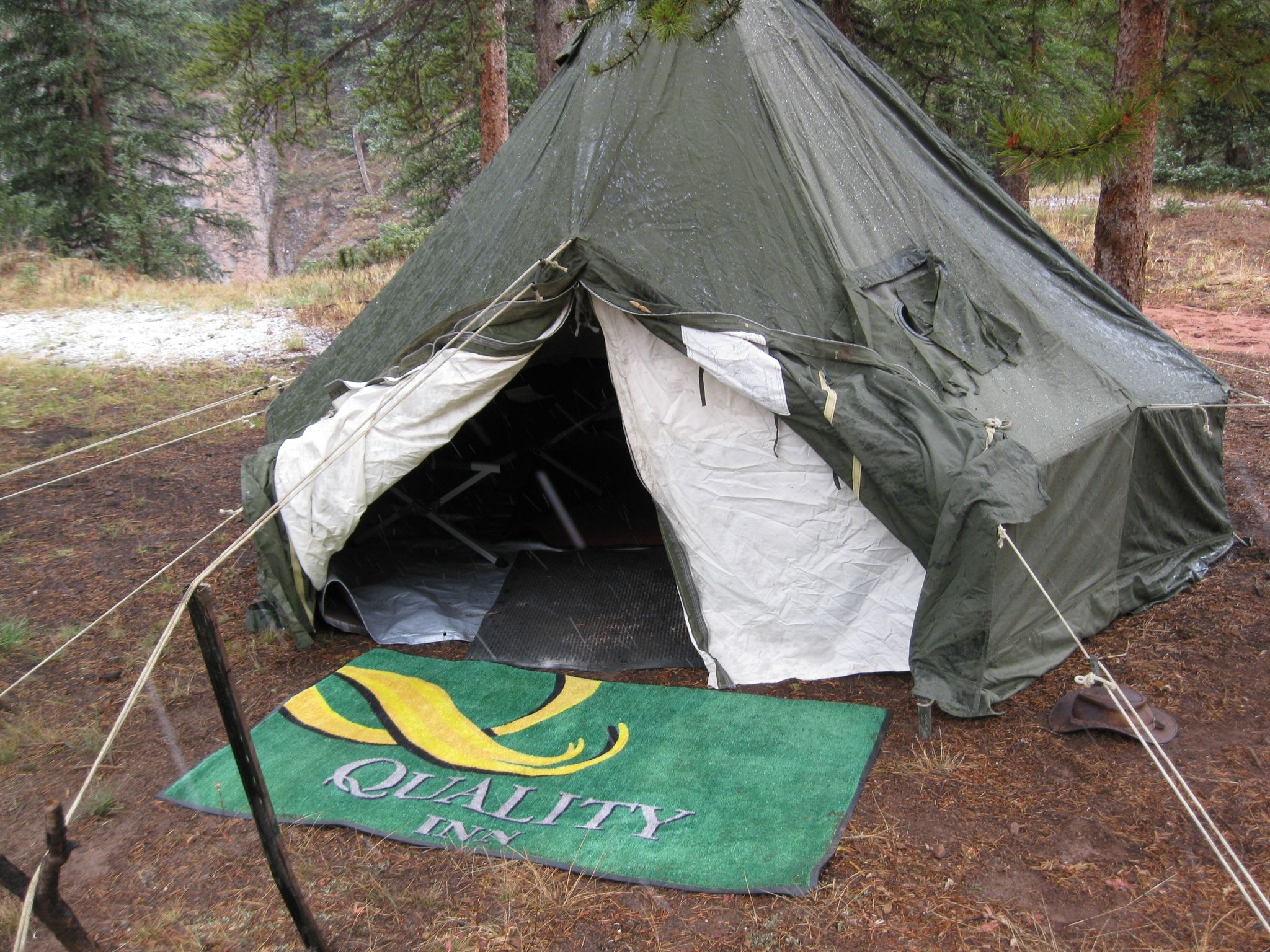 This one was a Korea era used (almost new) tent. Got it online for about $300. Comes with stove jack ... & My five man arctic tent. The white liner created an air pocket to ...