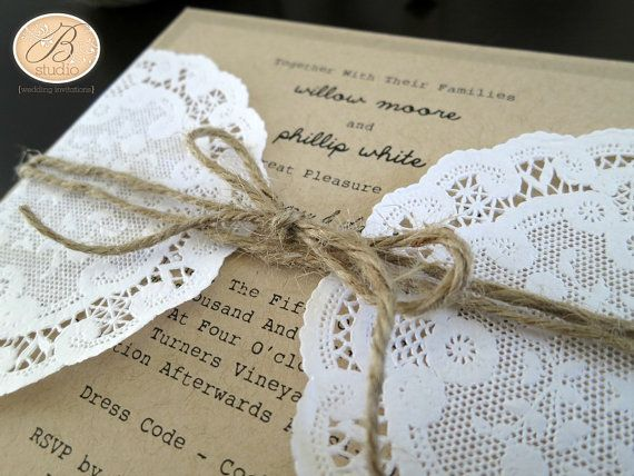 Cheap Shabby Chic Wedding Invitations: Rustic Wedding Invitation With Twine And Doily