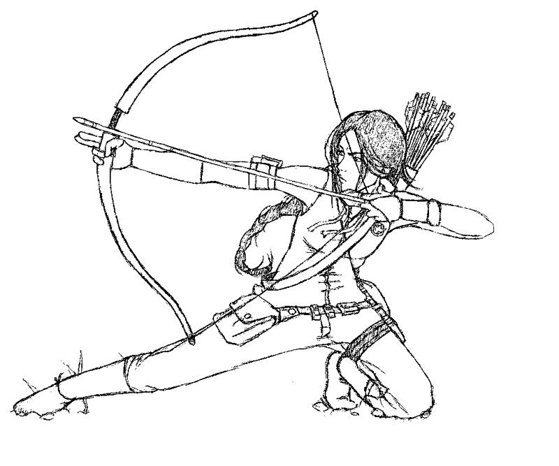 Katniss  The Hunger Games Coloring Page  art  Pinterest