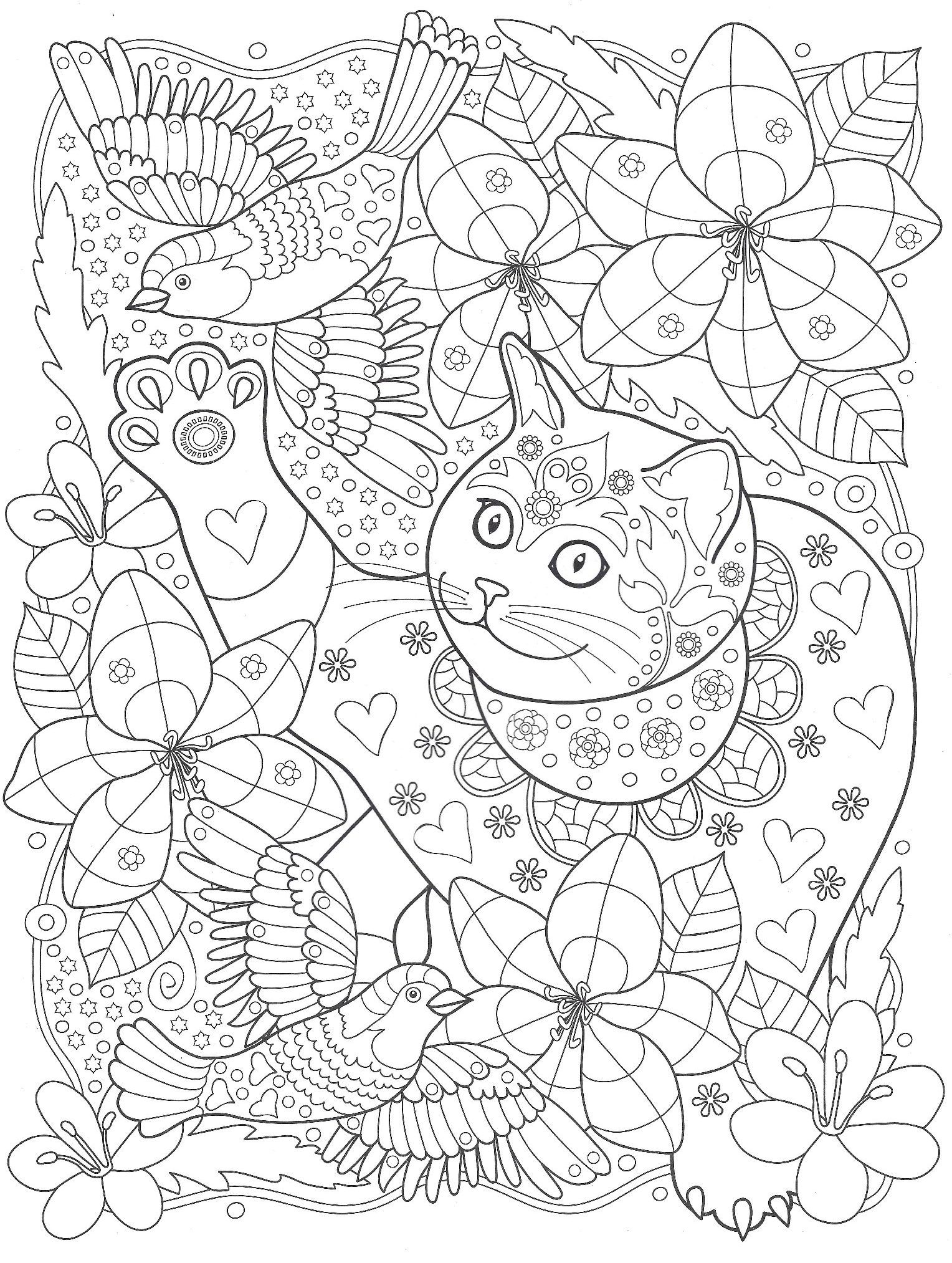 Raskraski Zhivotnye Koshka S Pticami Cat Coloring Page Cute Coloring Pages Animal Coloring Pages