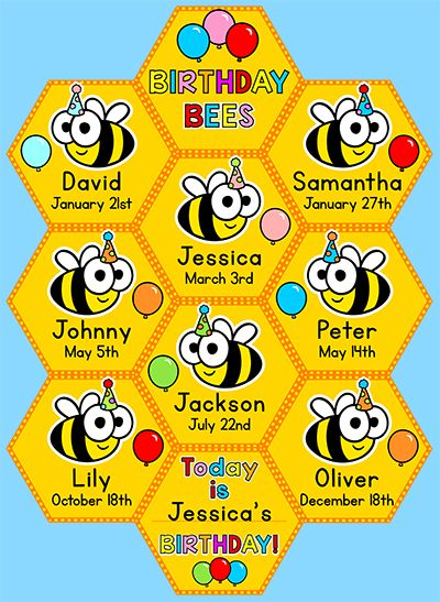 Birthday Board - Bee Theme Classroom Decor | Birthday board ...