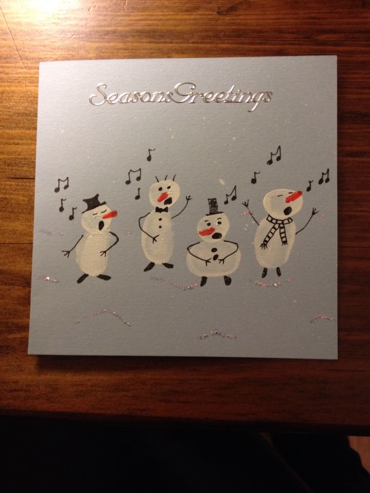 fingerprint snowman christmas card christmas. Black Bedroom Furniture Sets. Home Design Ideas