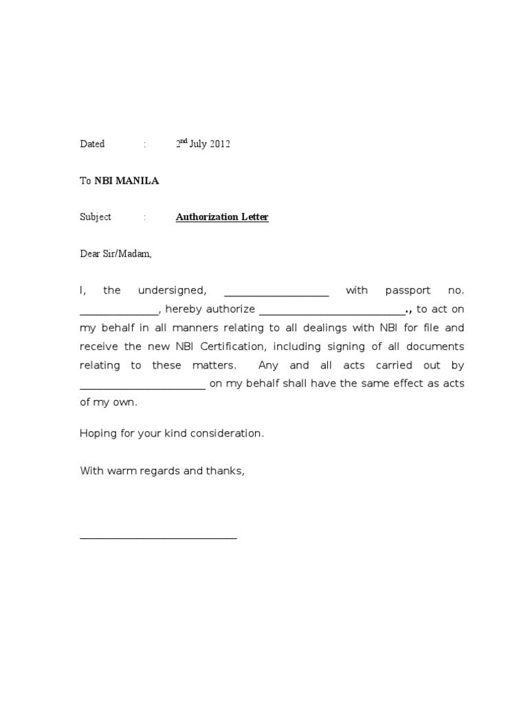 Authorization Letter Samples Act Behalf Word Excel Authorised