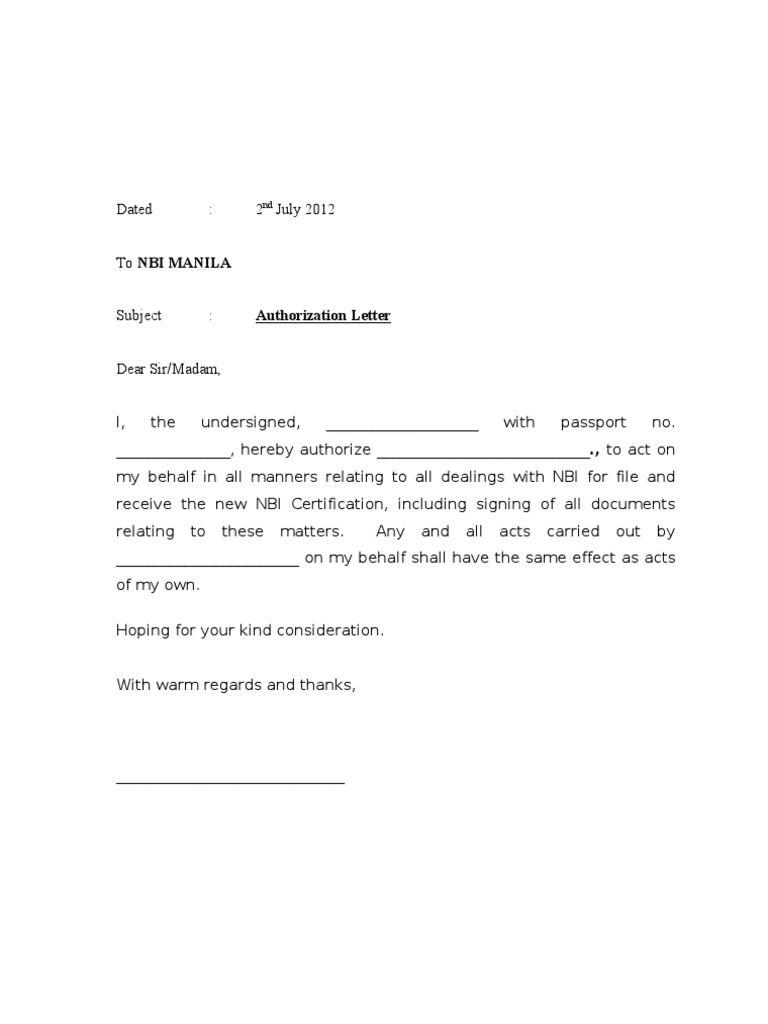 authorisation letter nbi collect passport philippine
