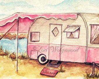ACEO - Pink Camper - Glamper - Watercolor - Artist Print Instant Download