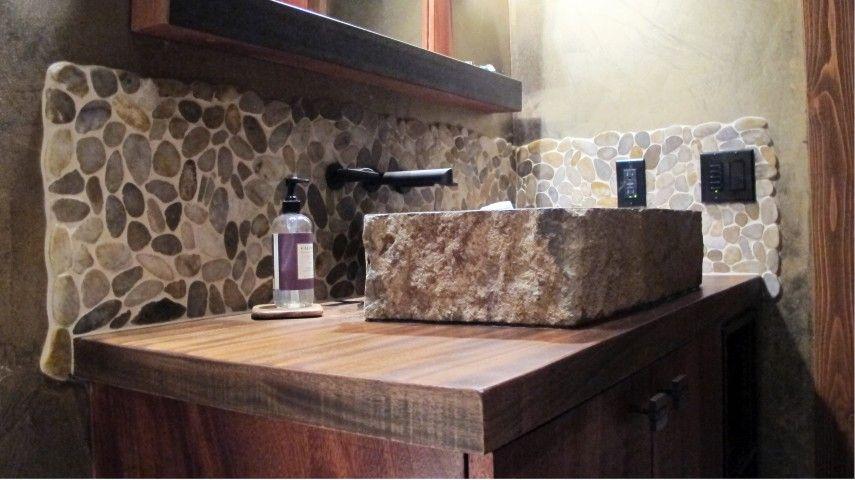 Pebble mosaic solid wood countertop stone vessel sink rivera pebble backsplash emser tile Granite backsplash for bathroom vanity