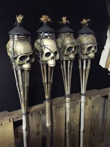 Making skull torches out of basic tiki torch, , \u2022Can purchase at - walmart halloween decorations