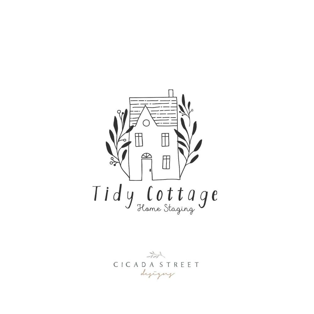 House Logo Cottage Logo Nature Logo Premade Logo Wreath Etsy Natural Logo Home Logo Vintage Logo Design