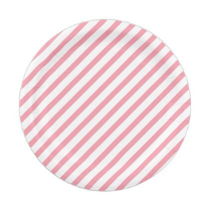 Minimal Pink Lines Paper Plate - lines paper