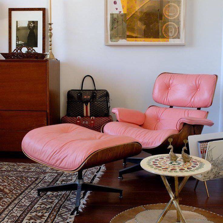 The Eames Lounge in a custom pink leather. Photo: Architectural ...