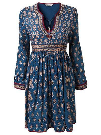 b394b50038 East Anokhi Print Volume Dress, Indigo | ☮ My Style ☮ | Fashion ...