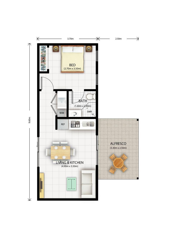 Stephanie 1 Bedroom Granny Flat Design Narrow House Plans Small House Design Tiny House Floor Plans