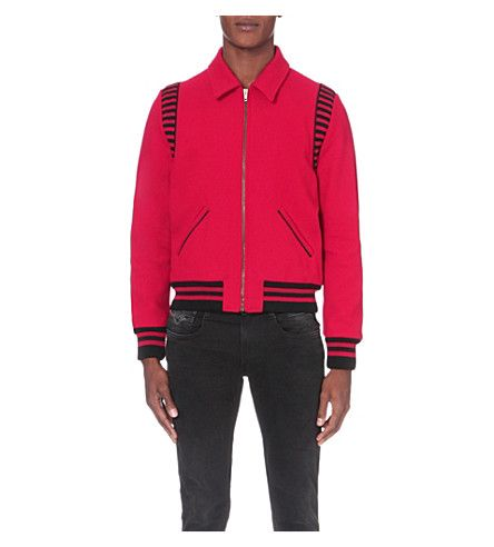 SAINT LAURENT Striped wool-blend teddy jacket
