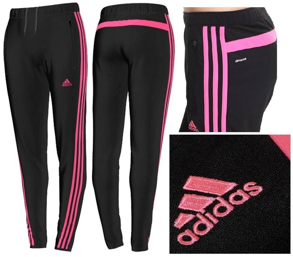 Adidas Tiro 13 WOMEN'S Training Soccer Warm-Up Pants S07000 Black/Solar Pink