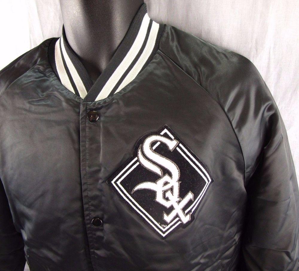 Vintage Chicago White Sox Satin Jacket L Black Baseball Coat Large Snap Button Satin Jackets White Sock Jackets [ 907 x 1000 Pixel ]