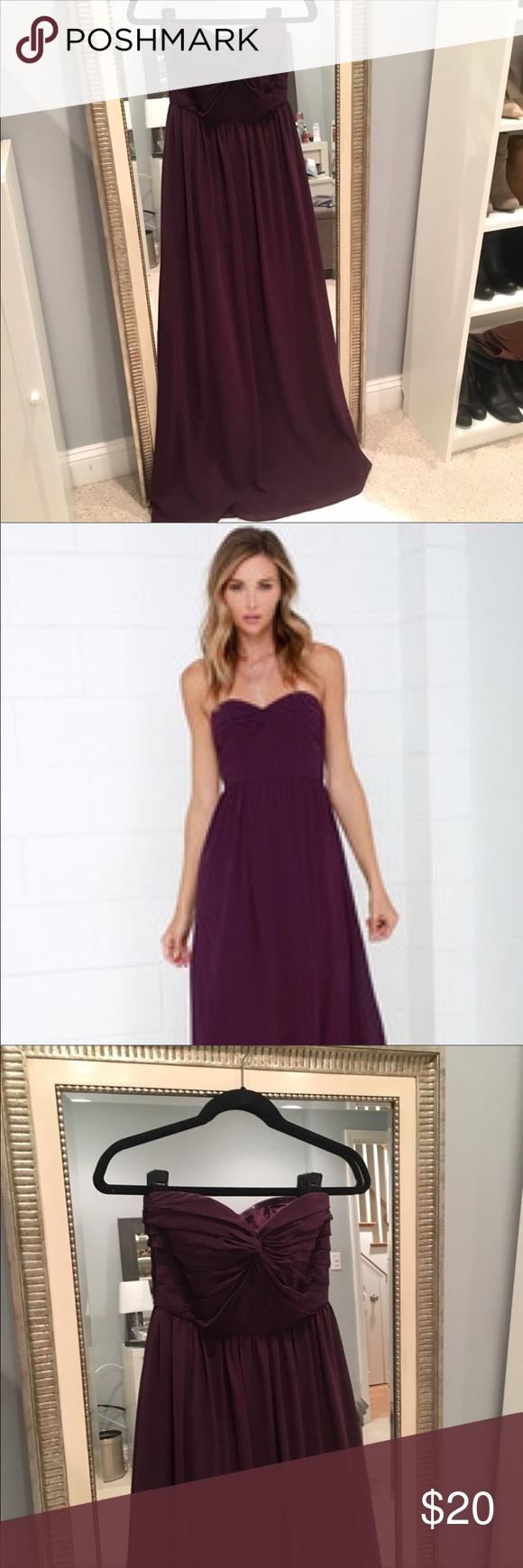 Lulus wedding guest dress  Lulus maxi formal burgundy maroon dark prom dress  Strapless dress
