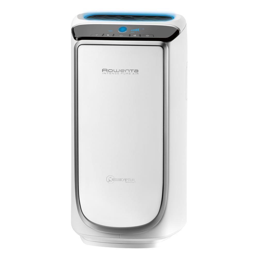 Rowenta 116 Sq Ft Intense Pure Air Purifier In White And Silver Pu4020u0 Air Purifier Hepa Filter Odor Eliminator