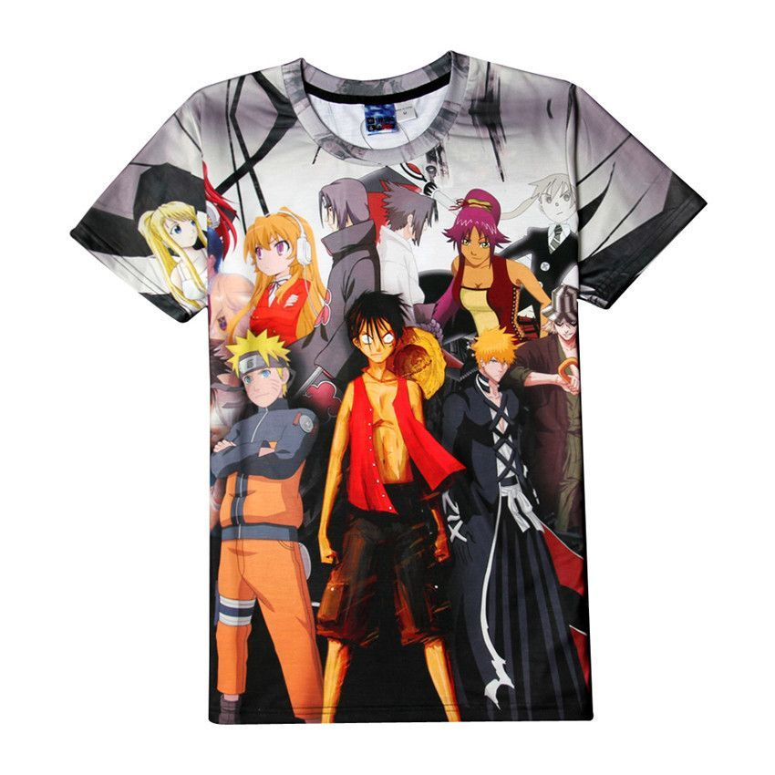 e8551f89 One Piece & Naruto Short Sleeve 3D Printed Sportswear T-Shirt ...