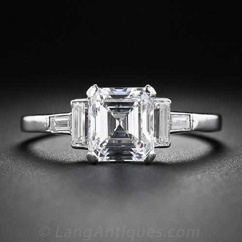 An almost square, and almost perfect, older emerald-cut diamond shines ice-