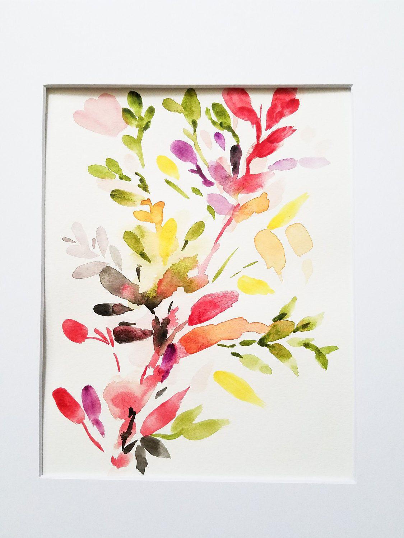 Peinture Aquarelle Fleur Abstraite Peinture Florale Aquarelle Fleurs