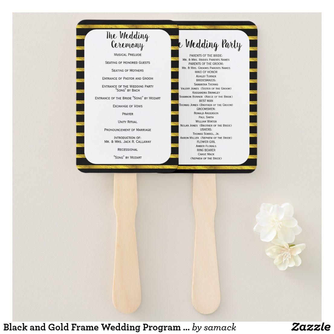 Black And Gold Frame Wedding Program Fan