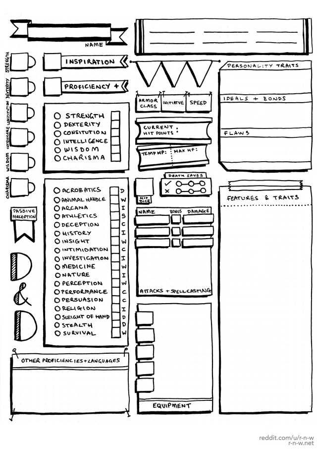 picture regarding Printable Dnd Character Sheet identify DD 5 Personality Sheets - Hand Drawn Structure! - Superior res information