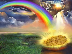 Poem: Chasing Rainbows  Chasing after rainbows, I spotted a little elf who was looking for silver… I asked him if he knew where the pot of gold was, but he told me it had went down in value…
