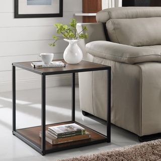 Myra Vintage Industrial Modern Rustic End Table By Inspire Q