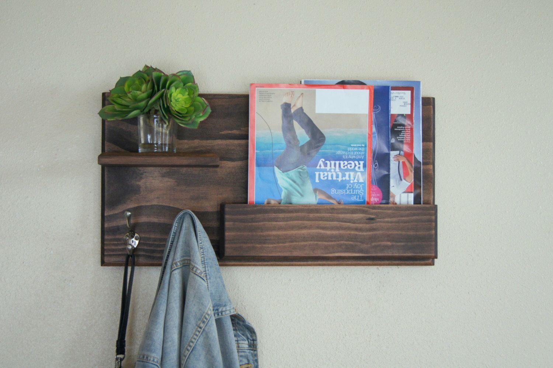 coat rack wall mounted with mail storage and floating shelf entryway organizer key hooks