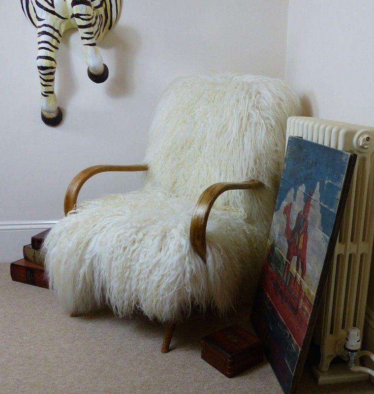 Mongolian Sheepskin Chair Yeti Armchair Made With Sheep