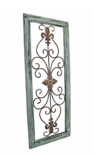 Distressed Wooden Green Frame Wrought Iron Fleur De Lis Wall Decor 30 X 12 In