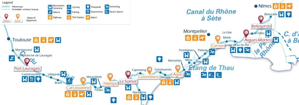 Waterways Map For Boating Holidays On The Canal Du Midi Canal Du
