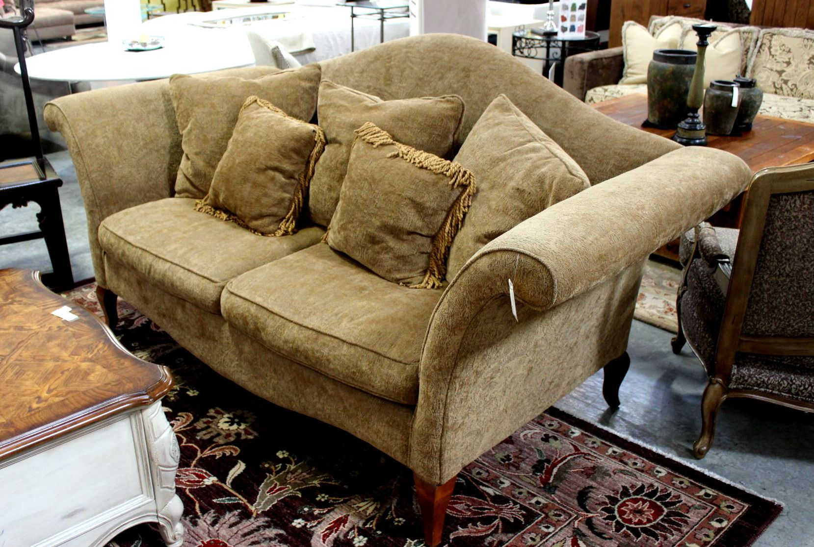 Chenille Camel Back Loveseat Consignment Northwest