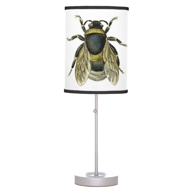 Bee antique illustration table lamp #antique #bee #bees #classic #honey #tablelamp #homewares #homedecor #honey #bee #bees #honeybee #honeybees #home #zazzleproducts