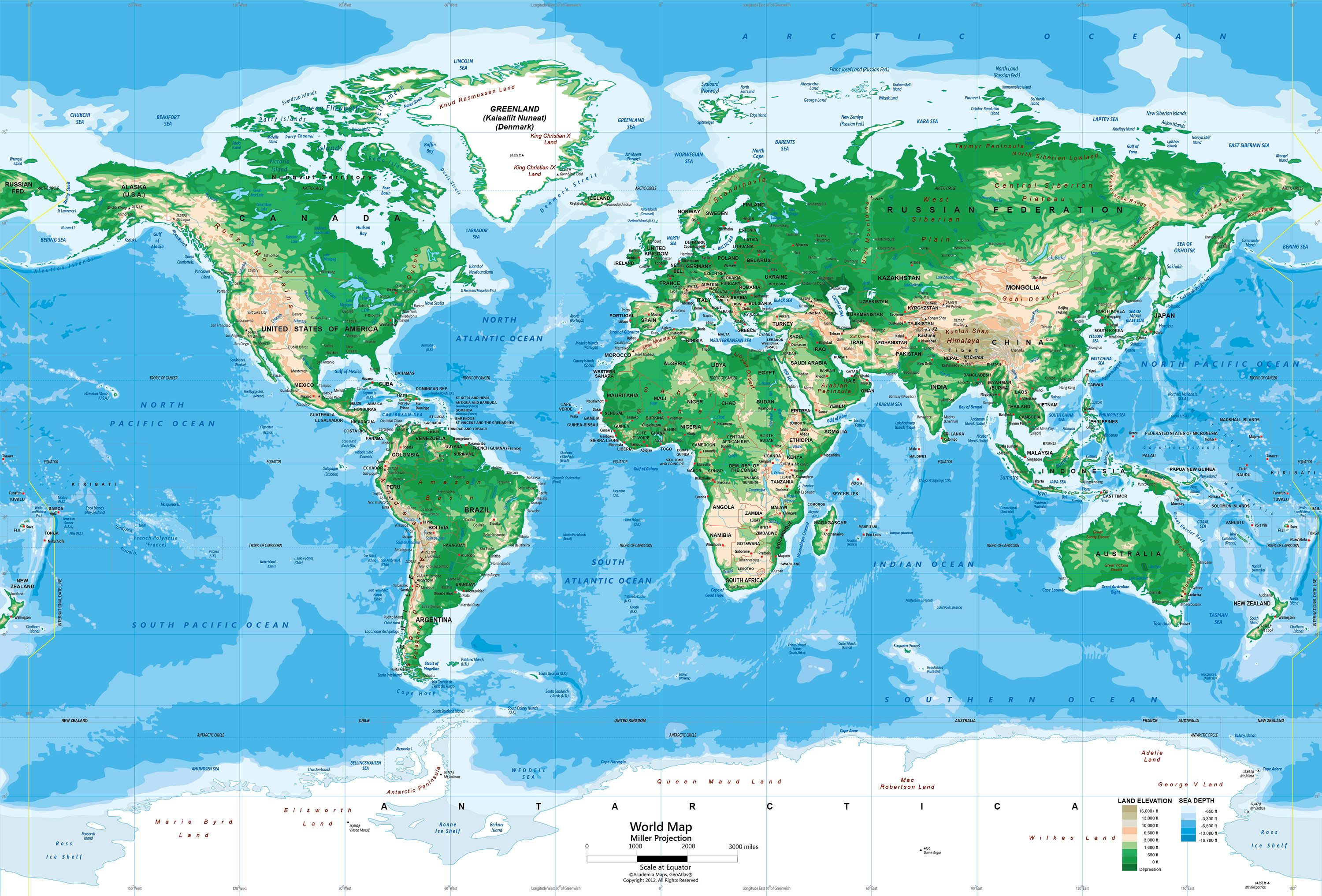 World Topography Map Wall Mural Miller Projection Burnham - World topography