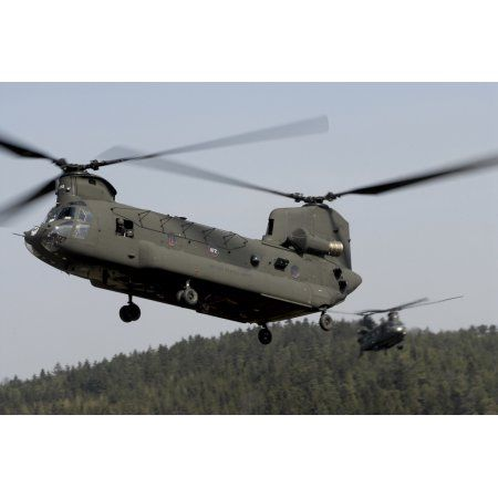 Two CH-47 Chinook helicopters in flight Canvas Art - Stocktrek Images (35 x 23)