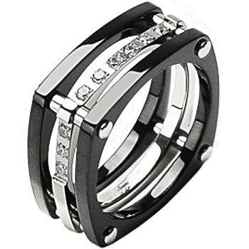 Spikes Titanium Square Root Ip Black Cz Ring Titanium Rings For Men Titanium Engagement Rings Rings For Men