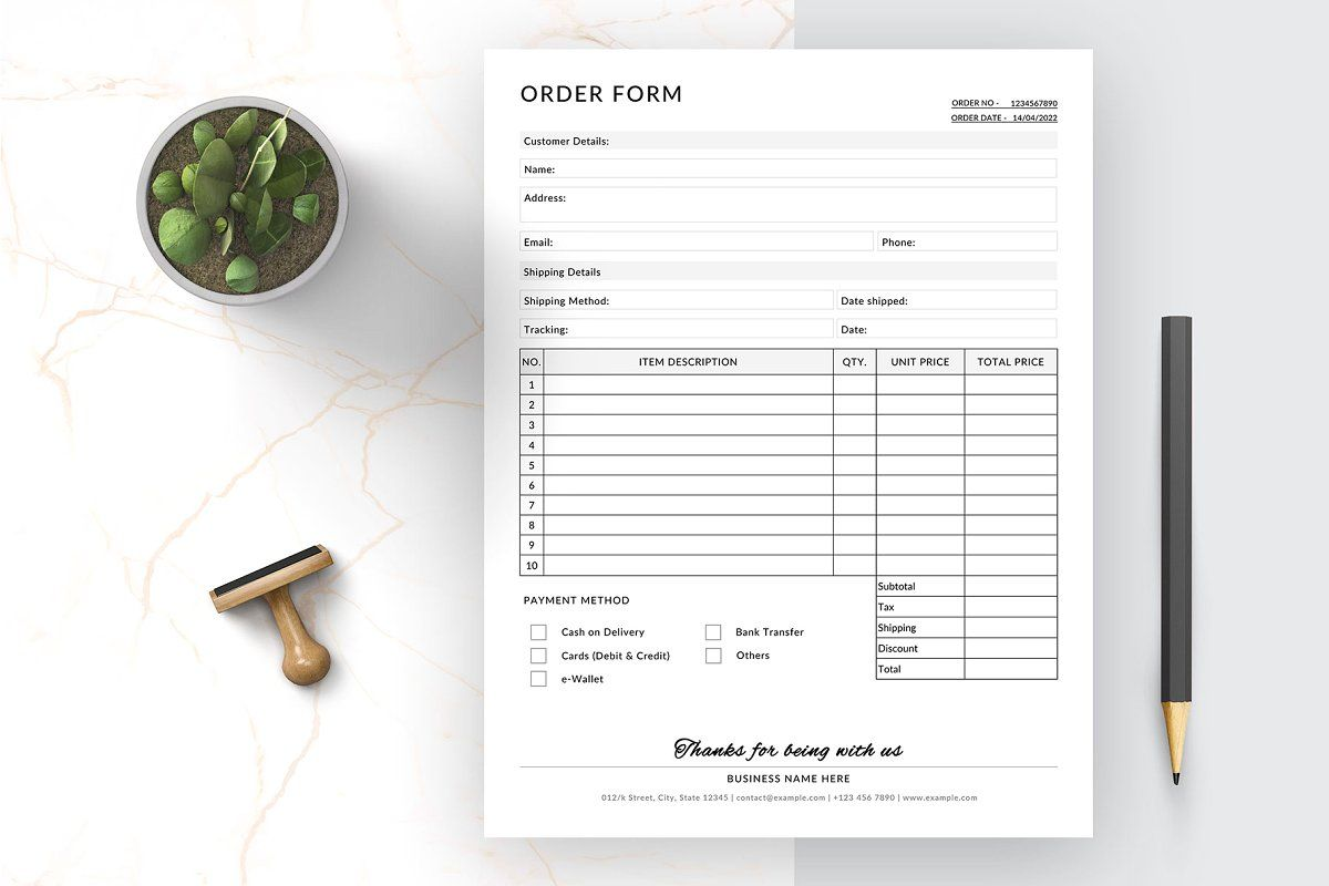 Wholesale Order Form Stationery Templates Order Form Order Form Template